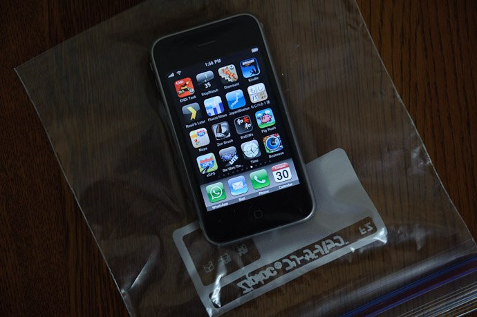 iPhone in a Ziploc